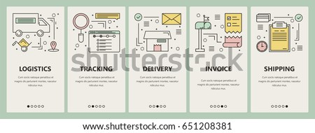 Vector set of e-commerce concept vertical banners. Logistics, tracking, delivery, Invoice and Shipping templates. Modern thin line flat design elements, symbols, icons for website menu