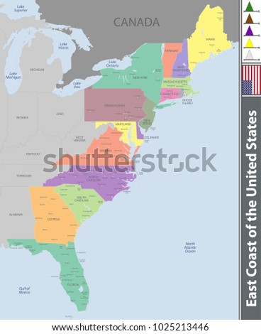Vector set of East Coast of the United States with neighboring states