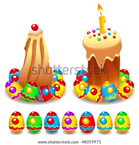 Vector set of Easter cakes and colorful Easter eggs