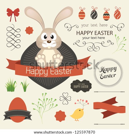 Vector set of easter ornaments and decorative elements, vintage banner, ribbon, labels, frames, badge, stickers. Vector easter element  with retro vintage styled design. Vintage easter bunny