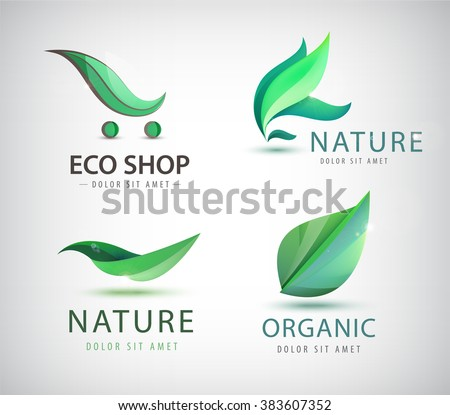 vector set of eco logos  leaves