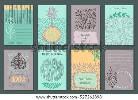 Vector set of eco nature labels or business card templates. Flyers designs for organic, natural, healthy products. Ecological posters.