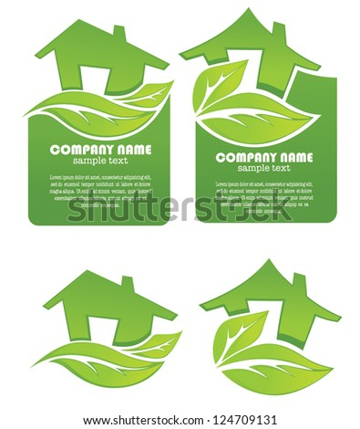 vector set of ecological homes signs, stickers and icons