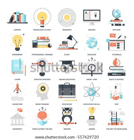 Vector set of education and knowledge flat web icons. Illustration graphic design concepts. Modern flat icon style. Symbols for mobile and web graphics. Logo creative concepts.