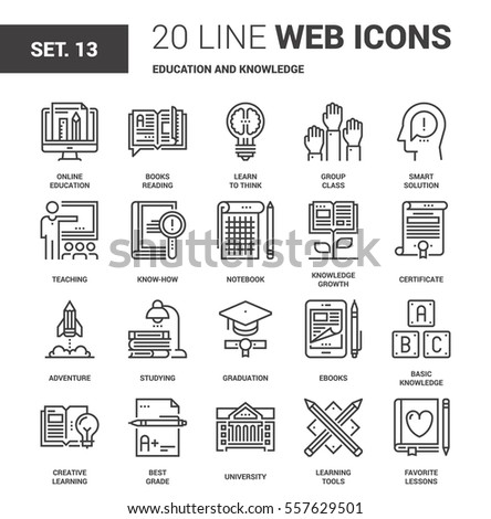 Vector set of education and knowledge line web icons. Each icon with adjustable strokes neatly designed on pixel perfect 64X64 size grid. Fully editable and easy to use