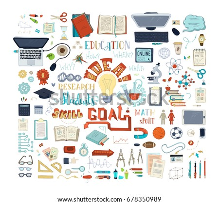 Vector set of education elements and icons. Chemistry, physics and laboratory research symbols. Dna, molecules, test-tubes, microscope, stationery and other objects. Scene creator items. Top view.