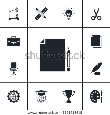 Vector set of education icons. Simple study elements illustration. Learning symbols design from school collection. Can be used in web and mobile.