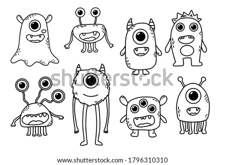Vector set of eight cute monsters. Funny line hand-drawn aliens for coloring pages. Bundle of decorative design elements. Flat vector illustration. Foto stock ©