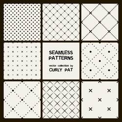 Vector set of eight seamless patterns. Modern stylish texture. Repeating geometric tiles with dotted rhombuses.