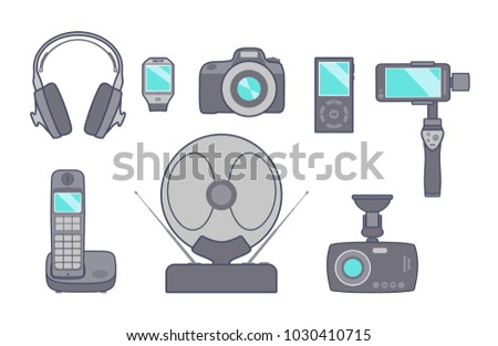Vector set of electronic technical household appliances in flat style on white background. Camera, antenna, radiotelephone, mp3 player, headphones, video recorder, self-timer stick, smart clock.