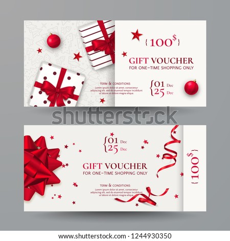 Vector set of elegant Christmas gift vouchers with realistic red bows, gift boxes, toys, ribbons, stars and confetti. Festive background for design of gift cards, coupons and holiday certificates.