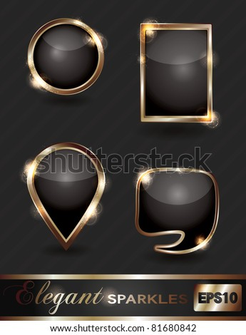 Vector set of elegant sparkling black and gold web buttons