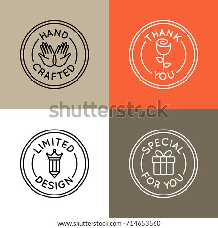 Vector set of emblems, badges and icons for handcrafted goods and products for all kind of artisans, artists, crafters and designers selling unique, handmade goods - round tags for packaging