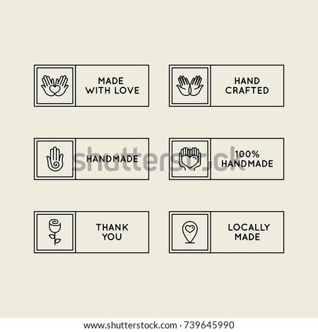 Vector set of emblems, badges and icons for handcrafted goods and products for all kind of artisans, artists, crafters and designers selling unique, handmade goods -  tags for packaging and labels