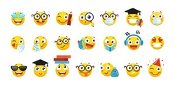 Vector set of emoji for school and education. Round yellow emoticons with different emotions, back to school. A student with a book, a schoolboy with a backpack, a nerd with glasses. Flat cartoon