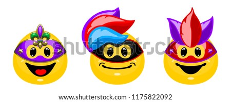 Vector set of emotions in carnival masks. Collection of smiles in cartoon style isolated on white background