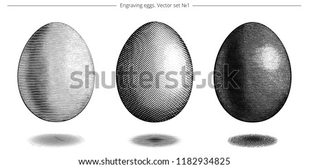 Vector set of engraving eggs. Easter symbols. Icons of chicken egg drawing by black ink. Detailed etching. Different types of cross hatching. Natural food. Floating objects. Elegant vintage style.