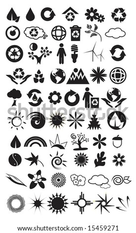 Vector set of 60 environmental / recycling icons