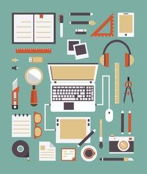 Vector set of equipment for design. Gadgets for creation. Flat style design - vector illustration