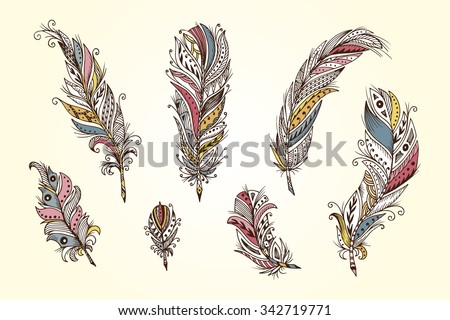 vector set of ethnic feather....
