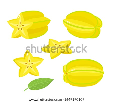 Vector set of exotic fruit carambola isolated on white. Whole and half, slices of fresh starfruit used for poster, website, brochure, tag Сток-фото ©