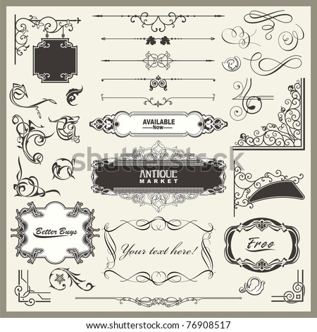 Vector set of exquisite ornamental and page decoration designs, including calligraphic design elements, borders, corners, frames and panels with place for your text. - stock vector