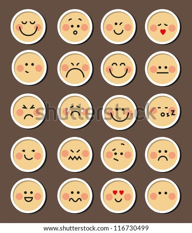 vector set of 20 faces for chat