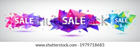 Vector set of facet geometric banners, shapes for sale, promotion design. Colorful triangular illustrations, tags, stickers