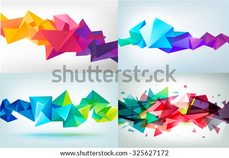 Vector set of faceted 3d crystal colorful shapes, banners. Horizontal crystal banners, faceted colorful