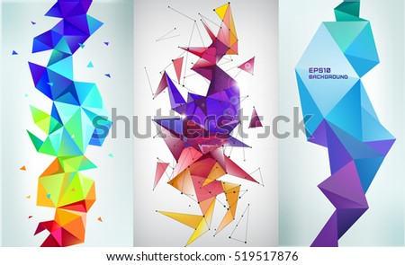 Vector set of faceted 3d crystal colorful shapes, banners. Vertical orientation backgrounds
