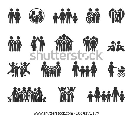 Vector set of family flat icons. Contains icons couple in love, large family, divorce, quarrel, happy family, big family and more. Pixel perfect.