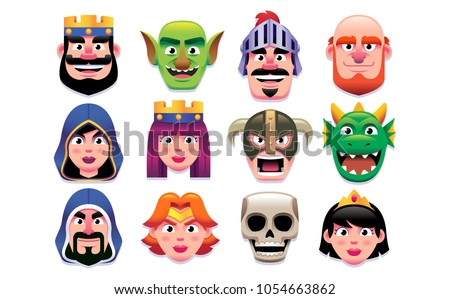 Vector Set Of Fantasy Characters Isolated On White Background
