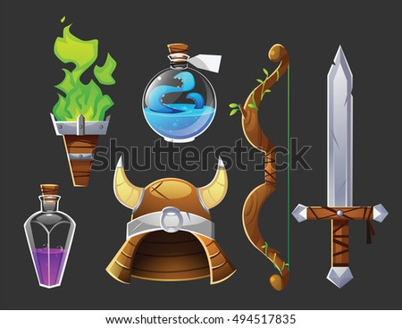 vector set of fantasy objects
