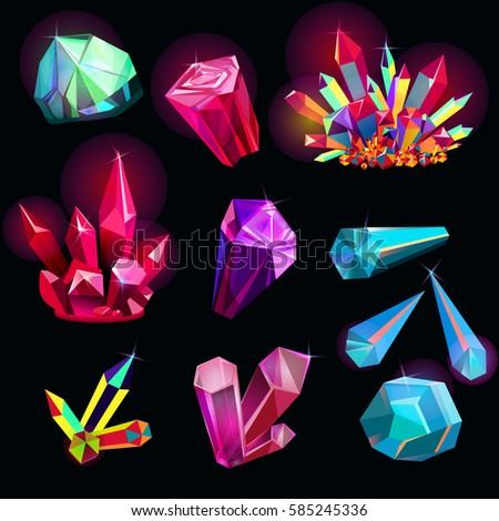 vector set of fantasy shiny