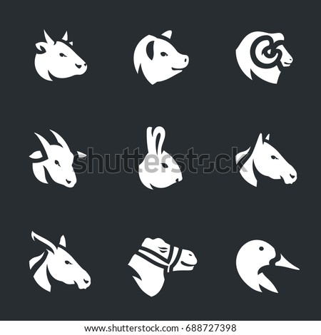 Vector Set of Farm Animals Icons.