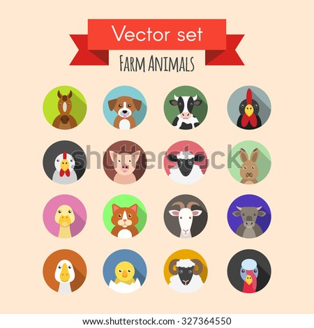 Vector set of farm or domestic animals icons