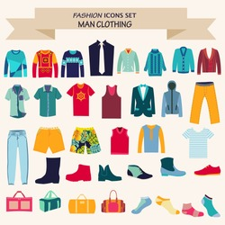 Vector Set of Fashion collection of man wardrobe. Various male clothing