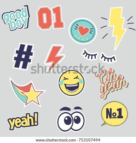vector set of fashion patches
