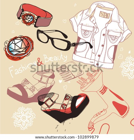 vector set of fashion shoes,cloth and jewelry