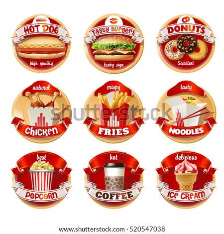 vector set of fast food logos