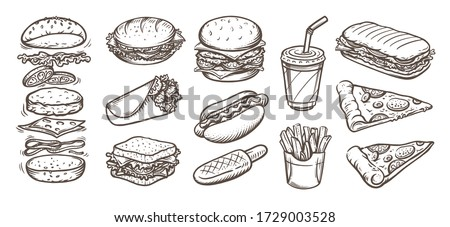 Vector set of fast food. Vector illustration in sketch style. Foto stock ©