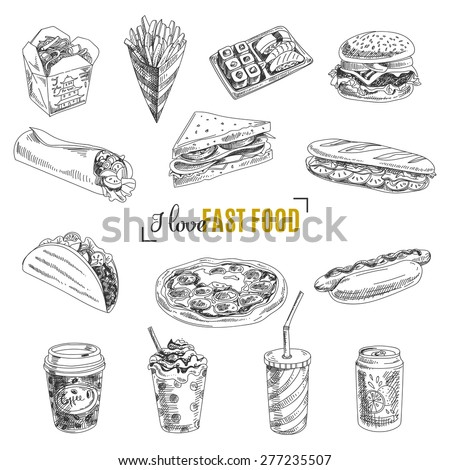 Vector set of fast food. Vector illustration in sketch style. Hand drawn design elements. #277235507