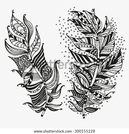 Vector set of feathers on a white background. Vintage, tribal, artistically drawn, stylized, feather. Sketch by trace. zentangle