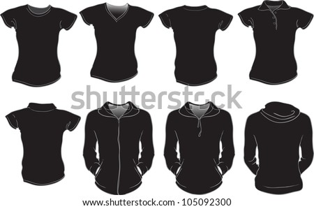 vector set of female shirts template in black color, check out my portfolio for different t-shirt templates