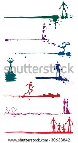 Vector set of figure multicolored ink splash