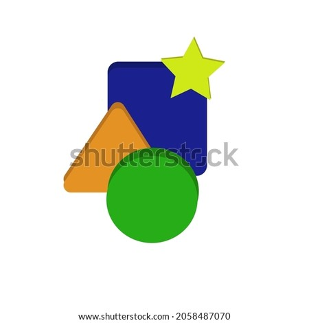 vector set of figures. Blue square, yellow star, orange triangle, green circle. Cognitive illustration for children