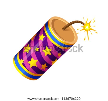 vector set of firecracker, dynamite, explosives, holiday, fireworks, striped, gold stars, lilac, burning wick, round, fireworks, new year,