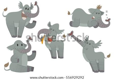vector set of five cartoon