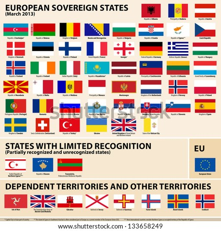 Vector set of Flags of European sovereign, partially recognised states and Dependent territories (March 2013).
