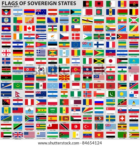 Vector set of Flags of world sovereign states (September 2011). New flags of Libya, South Sudan, Myanmar, Malawi.